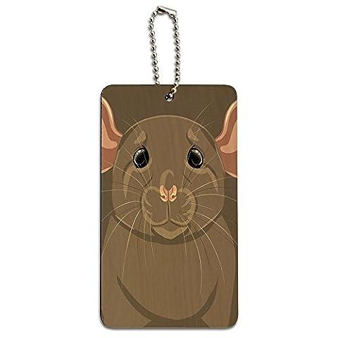 Rat Dumbo Fancy Gris–PET Souris en bois carte étiquette d'identification Bagage Valise Cabine