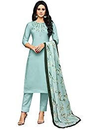 03088e8401 Mrinalika Fashion Women's Embroidered Muslin Silk Semi-Stitched Salwar Suit  Salwar Suit Material with Nazneen
