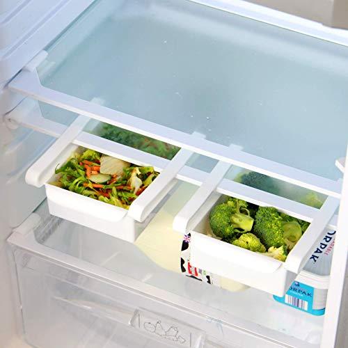 Maison & White Packung mit 4 Kühlschrank Aufbewahrungsbox Schubladen | Kühlschrank Obst & Gemüse Tablett | Universal Zusatzfächer