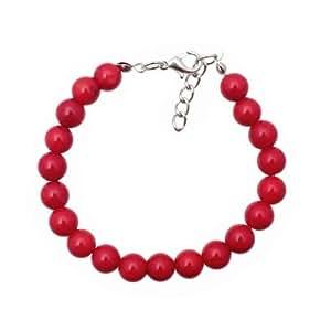 Rote Korallen Armband Perle 8 mm