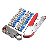 Bild des Produktes 'SeeKool Kompressionszange Crimp-Werkzeug Koaxialkabel Werkzeug +drehender Koaxialer Kabelschneider+ 20 Stück Kompre'