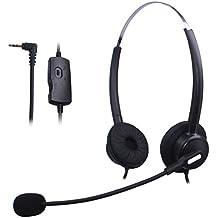 Wantek Dual Call Center Teléfono Auricular con 2.5mm Auricular Jack + Micrófono + Volume Mute Controls para Cisco Linksys SPA SPA921 SPA922 SPA941 303 501G 502G 504G 508G 509G IP Teléfonos(H120B01J25)