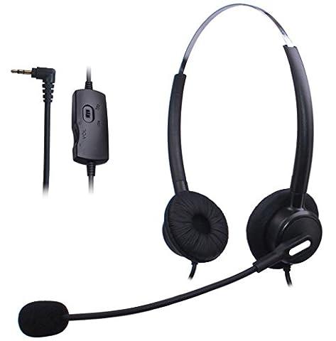 Wantek Dual Call Center Téléphone Casque avec 2,5mm Casque Jack + Micro + Volume Muet Contrôle pour Cisco Linksys SPA SPA921 SPA922 SPA941 303 501G 502G 504G 508G 509G 525G IP Téléphone(H120B01J25)