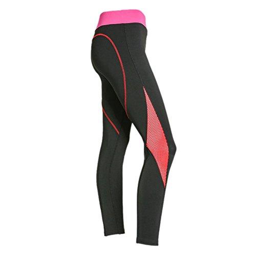 Yalatan Women Heart Pattern Mesh Splice Athleisure Elastic Leggings Pants Nero