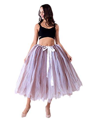 Honeystore Damen's Tüllrock Maxirock Lang Tüll Rock Tutu Hochzeit und Party Prinzessin Ballettrock One Size Braun und Weiß (Billig Diy Halloween Kostüme Für Frauen)