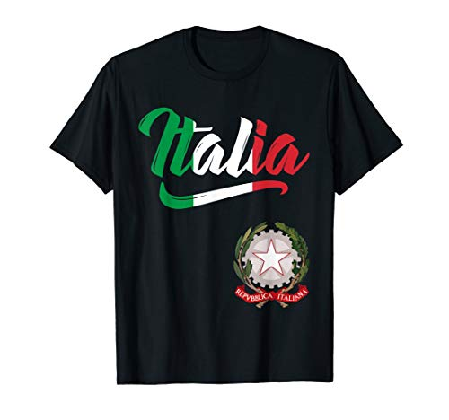 Italia Flag Italian Coat Of Arms Italy Italiano Men Women  T-Shirt -