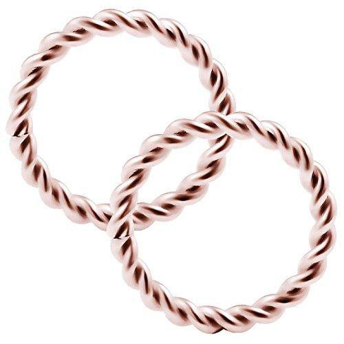 bodyjewelrytrend 2 Stück Twisted-Kabel nasenpiercing Ring 1.2mm Rose eloxiert Nasenring Nose Nasen Hoop Nase Ring Edelstahl RGAN - 8mm
