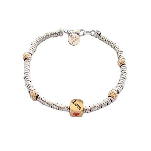 Armband Almas Schmuck in Silber mit Unterteilungen Strickgarn und Cubetto Love mit Bad in Gold Gelb -