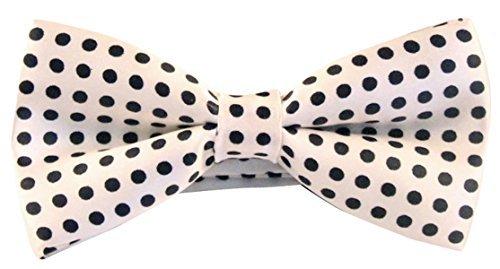 Panegy Herren Fliege Polyester Seide Schwarze Punkte Drucken Bowtie Polka Dot Jacquard Men Bow Tie - Weiß Polka Dot Bowties