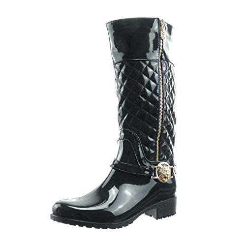 sopily-chaussure-mode-botte-bottes-de-pluie-cavalier-mi-mollet-femmes-brillant-matelasse-verni-talon