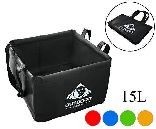 Outdoor Faltschüssel 15 Liter   Faltbare Camping Waschschüssel zum transportieren und abwaschen von Geschirr und Lebensmitteln (05 Schwarz)