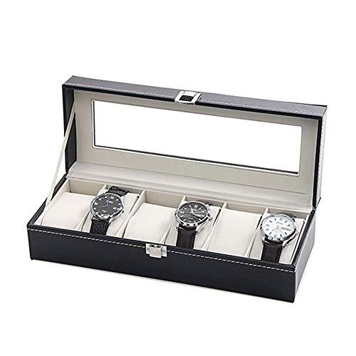 HYCy Faux Leder Uhrenbox Fuuml;r 6 Uhrenkasten, Samt-Innenfutter Und Glasfenster, Abschlieszlig;Bare Metallschnallen, Armbanduhr Aufbewahrungs Box (Farbe : B(General)) - General Power Tools