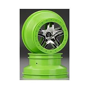 Traxxas 6872X - Rueda de radios Dividida para Coche (Cromo/Verde, 2,2 Pulgadas)