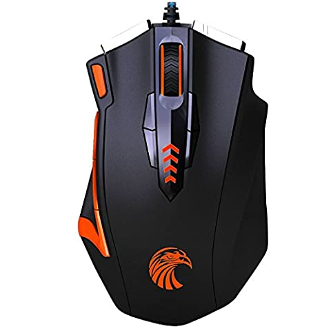 Gaming Mouse KingTop Programmable Optical Gamer Mouse with 16400 DPI 13 Programmable Button Weight Tuning Cartridge
