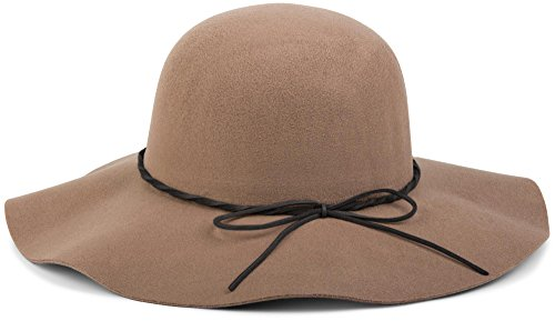 styleBREAKER Floppy Fedora Filzhut mit schmalem Zierband und Schleife aus Filz, Hut, Damen 04025008, Farbe:Braun