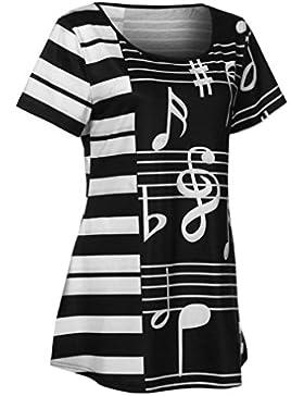 Yeamile💋💝 Camiseta de Mujer Tops Suelto Blusa Causal Camisetas Ocasionales Camiseta con Estampado de Notas Musicales...