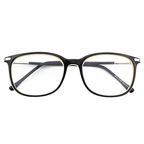 CGID CN79 Klassische Nerdbrille ellipse 40er 50er Jahre Pantobrille Vintage Look clear lens, Schwarz Beige, 52