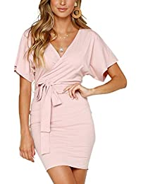 d7aa7d5d30e6e0 Ajpguot Kurz Kleid Damen Elegant Wickelkleider Sexy V-Ausschnitt Minikleid  Einfarbig Kurzarm Partykleider Rückenfrei Sommerkleid
