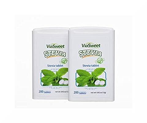 2 Packs of 200 NON BITTER STEVIA TABLETS by VIA SWEET STEVIA, 400 tablets in total, THE SUGAR
