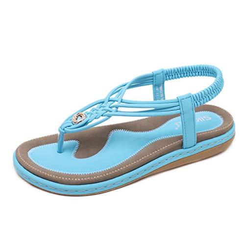 HAINE Damen Sandals, Frauen Sandalen Sommer Bohemian Strass Flach Sandaletten PU Leder Zehentrenner in Größe 36-44EU Jewel Strap Sandal
