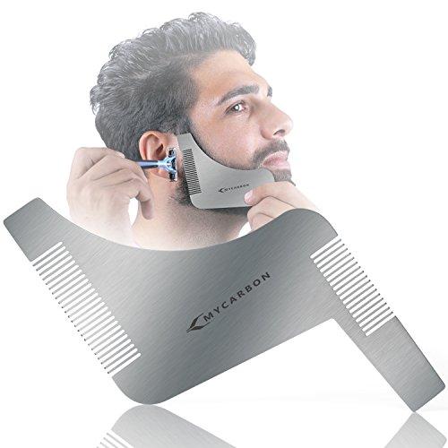 MYCARBON Bart Schablone Bartpflege Bartschablone Bartformen für Kinnbart Koteletten Hals|Mit Bartkamm für Vollbart und 3 Tage Bart