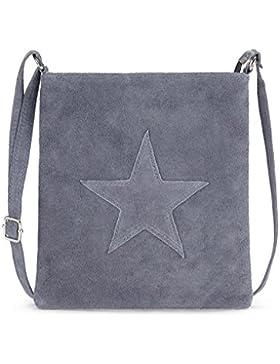 [Gesponsert]Handtasche / Ledertasche für Damen von der Marke Kurt Kölln ★ mit Stern Motiv ★ Wildleder / Echtleder ★ tragbar...