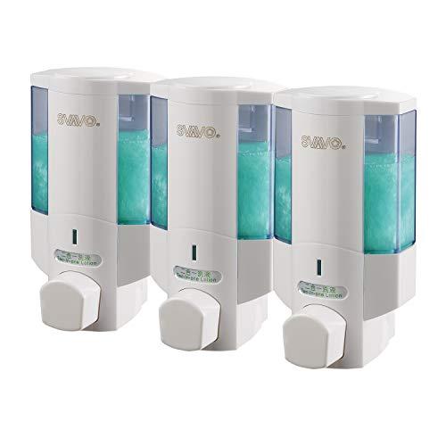 Svavo v-6103Triple Kammern Kunststoff Wand montiert Liquid Hand Seifenspender für Hotel Badezimmer Weiß, Chrom 350ML31Stück -