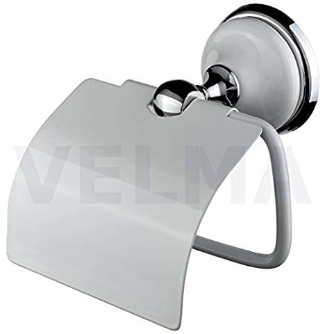 VELMA - 218351 - Exclusive toilet roll holder from our Bianco range - timeless elegant design - highly polished chrome-plated brass and high quality ceramic - no plastic - 100% rustproof - premium quality!
