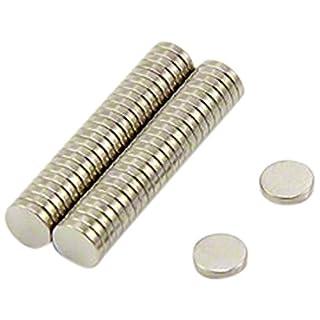First4magnets F351-N35-50 Neodym-Magneten, 0,2 kg Ziehen, Packung mit 50, Metall, silber, 5 mm Durchmesser x 1 mm Dicken