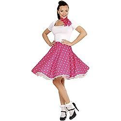 WIDMAN Conjunto de lunares, falda de 1950 y pañuelo - Rosa