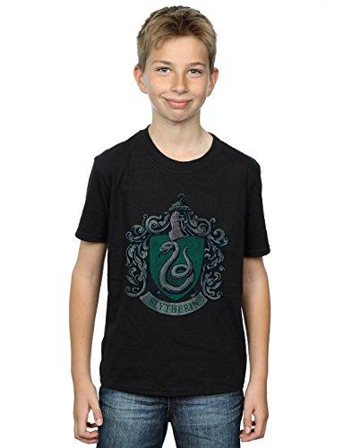 HARRY POTTER Jungen Slytherin Distressed Crest T-Shirt 9-11 Years Schwarz