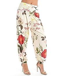 89de4703ad Ladies Floral Leaf Print Harem Ali Baba Pants Womens Cuffed Trouser Pants