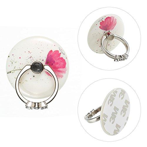 Universal ring supporto antiscivolo, asnlove forma rotonda elegante anello in metal stand holder ring grip con rotazione di 360 gradi per smartphone cellulari, fiore rosa