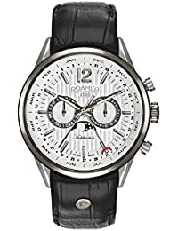 Roamer Men's Quartz Watch with White Dial Analogue Display and Black Leather Strap 508822 40 14 05