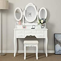 Shabby Chic White Dressing Table with 3 Oval Mirror and Stool Bedroom Vanity Dresser Sets,7 Storage Drawers Make Up Desk