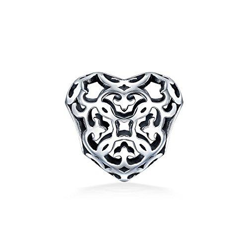 Öffnen Filigranes Herz Bead Charms Für Damen Für Freundin Für Jugendlich Sterling Silber Passt Europäischen Armband (Pandora Fleur De Lis Charme)