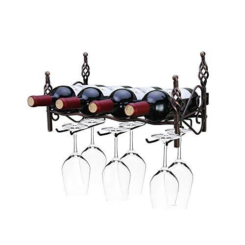YYWYKSZJ Vier Flaschen mit sechs Gläsern Weinregal Weinlagerregal Aufhänger Wein liefert Bar Wandbehang -