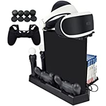 Hikfly 5in1 Vertical Stand Cooling Fan Dualshock4 Controller Charging Station Kit for PS4/PS4 Slim/PS4 Pro Consoles Set with Game Storage,PS Move Charger,Tray for PSVR,Thumb Grips and Controller Cover