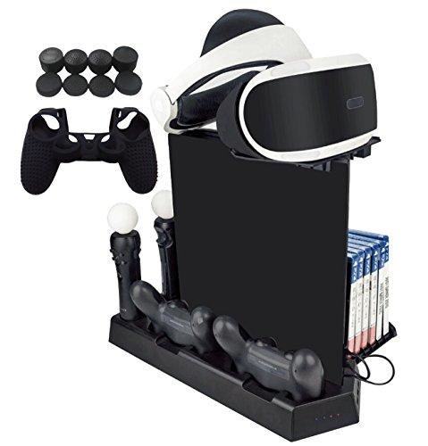 Pst-fall (Hikfly Multifunktions Stativ Lüfter Dualshock4 Controller Ladestation Kit für PS4 / PS4 Slim / PS4 Pro-Konsolen mit Spielspeicher, PS Move-Ladegerät, Fach für PSVR, USB 2.0 HUB)