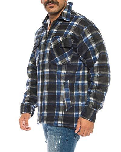 flanellhemd arbeitshemd Holzfällerhemd Arbeitshemd Flanellhemd/Jacke Kariert Thermohemd gefüttert 05 (XL, Blau/Weiß)