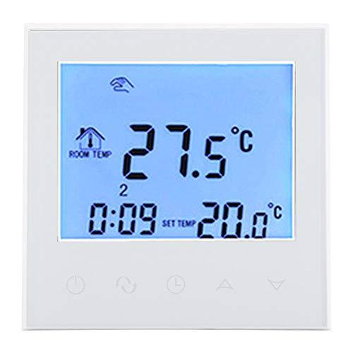 WiFi Termostato Regolatore di Temperatura Digitale per Riscaldamento a Parete in Cristallo di Carbonio Intelligente Termostato programmabile Display LCD Digitale(White)