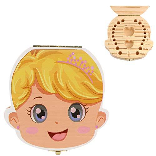 Cute Zahndosen Forh Nette Kinder Junge Mädchen Milchzähne Dose Holz Milchzahndose Wort Zahnbox Erinnerungsboxen Schön Geschenk Aufbewahrungsbox (Khaki A)