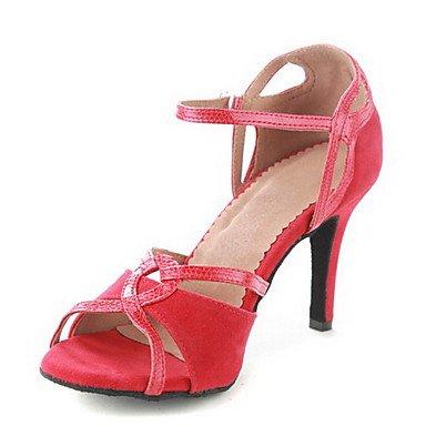 Silence @ pour femme en similicuir supérieure Sangle de cheville Latin/salle de bal Chaussures de danse Red