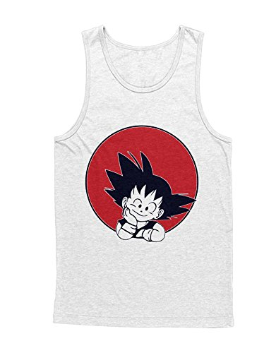 Tank-Top Son Goku Dragon Z Growing Fast GT Super Trunks Gohan Saiyajin C980007 Weiß - Vegeta Super Saiyajin Gott Kostüm