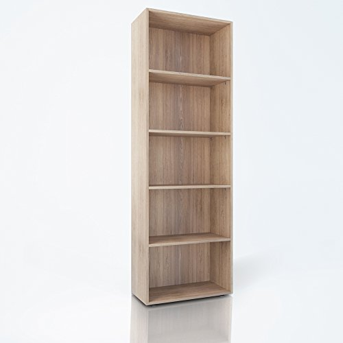 Bücherregal 5 Fächer Regal Standregal Aktenregal Aktenschrank (Eiche Sonoma) (Bücherregal Home-office-möbel)