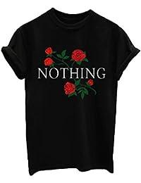 BLACKMYTH Mujer Redondo Casual Camisetas Manga Corta Moda Verano Rose Básica T-shirt