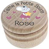 Boite à Dents de Lait en bois - Personnalisée avec le prénom de l'enfant + Texte personnalisable – Dessin de la petite souris