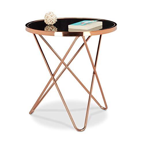 Relaxdays Table d'appoint ronde en cuivre HxlxP: 58 x 55 x 55 cm table console tendance table basse pieds géométrique métal avec plateau en verre noir design moderne rétro vintage, couleur cuivrée