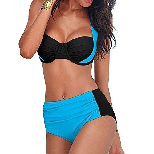 BOLAWOO-77 Bikini Damen Neckholder Bikini High Bikini Bademode Waist Up Push Set Badeanzug Swimsuit Frauen Badeanzug Mode Strand Swimsuit (Color : Blau, Size : M)