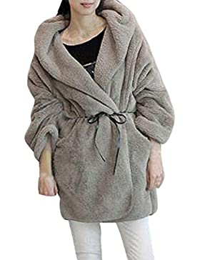 Escudo, abrigo,Internet Abrigo esponjoso con capucha de invierno cálido de las mujeres Chaqueta de Piel Sintética...